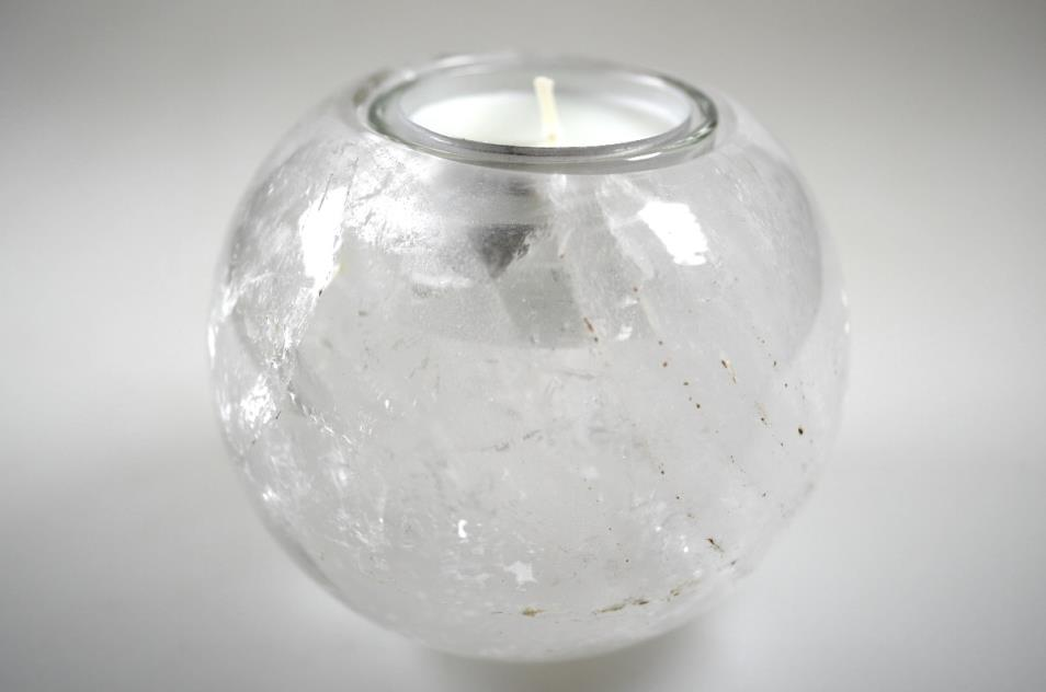 Clear Quartz Candle Holder 9cm | Image 1