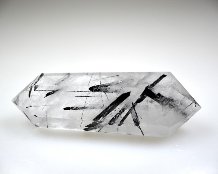 Double Terminated Quartz Point with Tourmaline 6.8cm | Image 1
