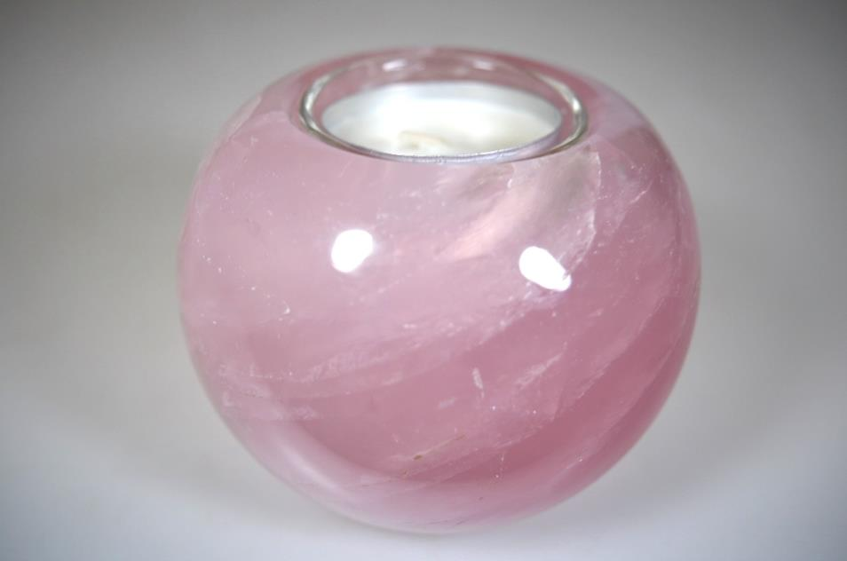 Rose Quartz Candle Holder 8.7cm | Image 1