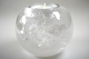 Clear Quartz Candle Holder 9cm | Image 4