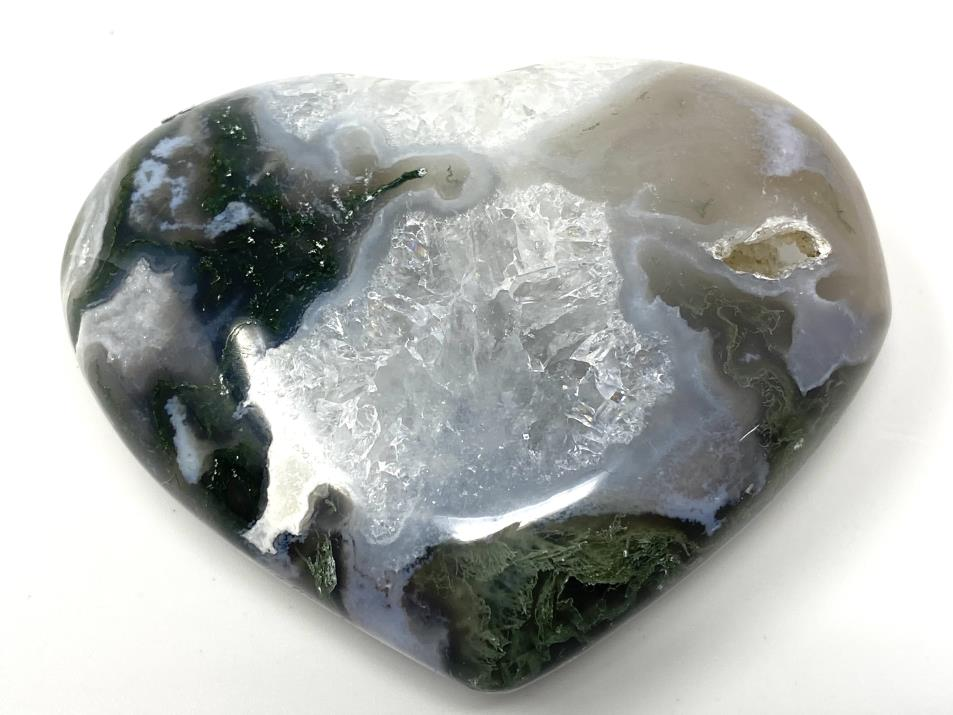 Druzy Moss Agate Heart 7.5cm | Image 1
